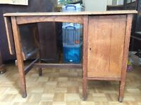 Small vintage solid wood deal with drawers and extendable flap