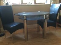 GLASS TABLE & THREE CHAIRS