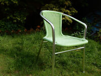 CAN DELIVER Outdoor Bistro Balcony Garden PU Rattan Look Chair Seat Alu Green Mint Modern