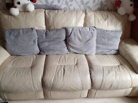 3 seater cream leather sofa with recliners collection from weymouth