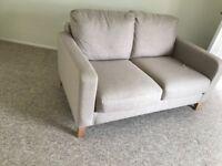 2 seater fabric sofa - beige /ecru
