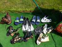 Mixed shoe/boot/sandal job lot. See description for sizes, collect from Liverpool. £50 lot.