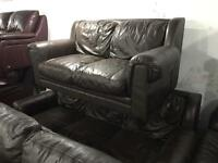 Full leather 3 and 2 brown leather sofas