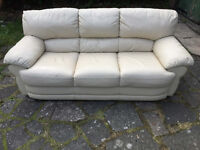 Used 3 seater cream leather sofa in very good condition Free delivery