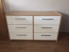 Oak/White gloss 6 drawer Unit for Sale