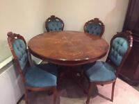 Beautiful Italian Style Mahogany Table + 4 Upholstered Chairs - CAN DELIVER