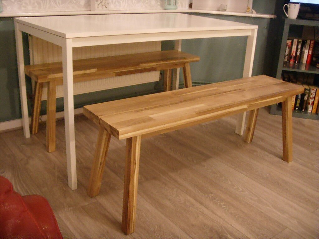 Reduced Dining Table And Benches Set Ikea Melltorp Skogsta Acacia Chairs