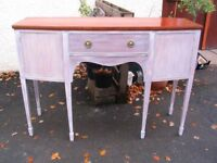 Regency style sideboard vintage distressed server buffet, bow fronted console hall table, c.1940.