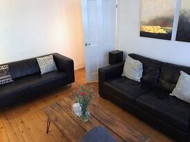 Leather sofas for sale (Real leather black)