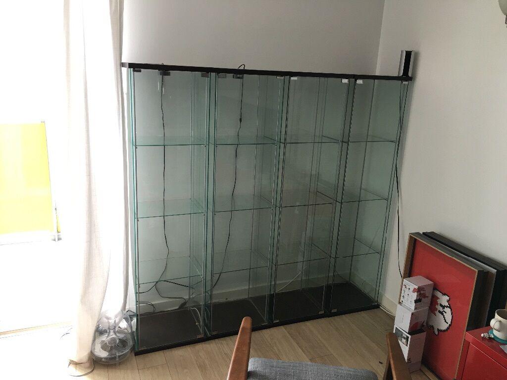 2 X Ikea Detolf Glass Door Cabinet Black Brown 43x163 Cm