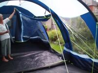 Four person tent, Kampa Fistral 4,c/w inner compartment,footprint groundsheet,complete, little used.