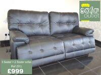 Designer Black leather 3 seater + 2 seater sofa (51) £999