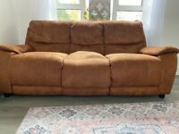 2 3 seater TAN SUEDE sofas. COLLECTION ONLY