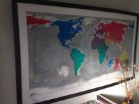 Magnetic framed world map