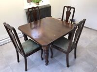 Antique Victorian/Edwardian Dining Table (extendable) with 4 Chairs