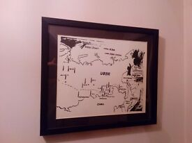 Framed Art Andy Warhol ICBM Print, Map of Eastern U.S.S.R. Missile Bases in frame