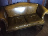 2 x Yellow Chesterfield 2 seater sofas for sale