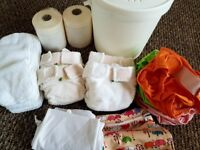 12 Little Lamb cloth nappies, wraps, liners and essentials