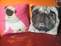 2 x pug cushions