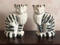 A beautiful pair of vintage unusual Fireside Cats. Teal & Bronzy Brown stripes 19cm's Tall