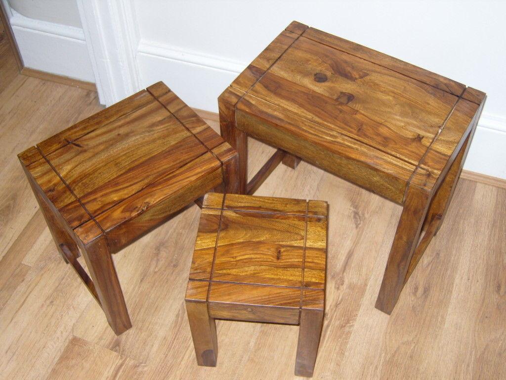 JALI SHEESHAM WOOD NEST OF TABLES INDIAN OAK ROSEWOOD NESTING SET OF 3 MANGO TOP