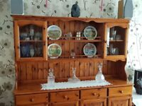 Pine Welsh Dresser for sale - top class condition - glass display cupboards £350 o.n.o.
