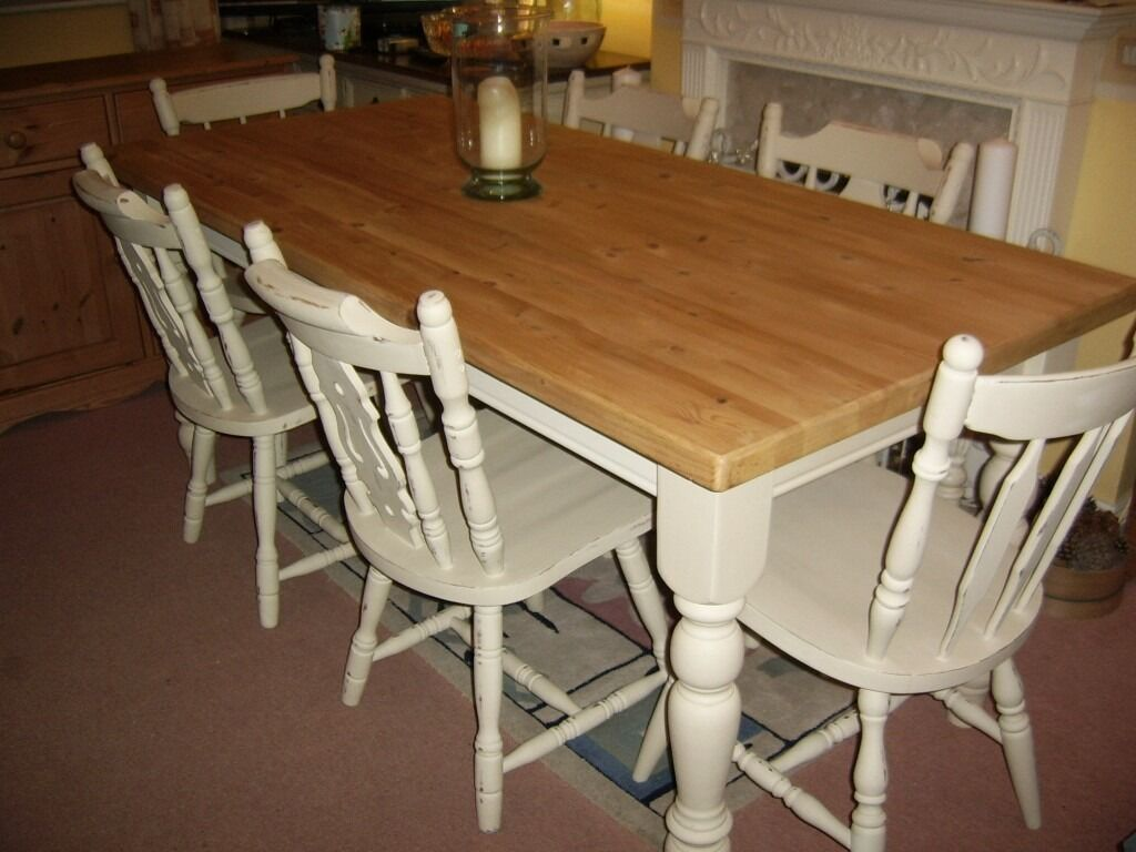 Solid Pine Table Amp 6 Chairs 6ft X 2ft 10 Quot Shabby Chic