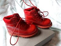 Infants red patent timberland boots
