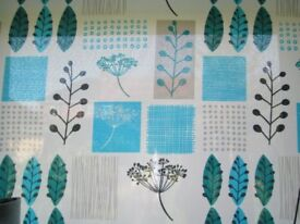 Geometric floral blue teal multi mix 3 foot roller blind NEW in box sealed kitchen