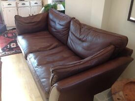 Large brown 3 seater leather sofa