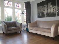 Mink/Champagne Chenille JOHN LEWIS 'Lucca' 3 Piece Suite Sofa Snuggler Armchair