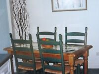 Pine table and chairs with italian hand painted tiled top