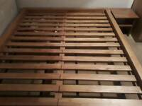 Kingsized wooden bed frame, side tables and mattress