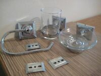 Bathroom fittings in chrome, 3 items all matching as new