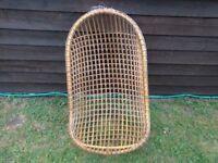 Hanging Wicker Egg Chair Ratan c1970s Interior Design Retro