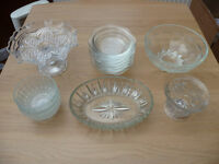 Bargain Job Lot Car Boot 24 Item Glass Cake Stand Dessert Dishes Bowls Candle Holders Storage Jars