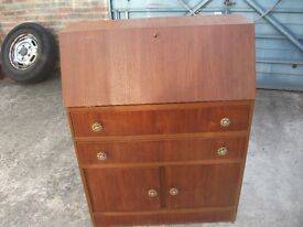 LOVELY ANTIQUE WOODEN BUREAU/DESK TWO DRAWERS TWO CUPBOARDS