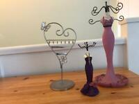 Set of three Jewellery stands for earrings, rings and necklaces