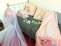 Next cot bed bedding, matching curtains, canvases and bed canopy etc