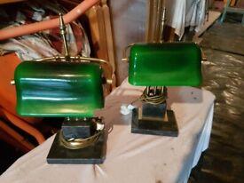 Vintage Bankers Lamps