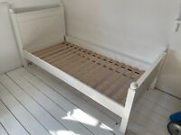Childs single bed, white wood