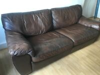 Ikea brown leather sofa bed