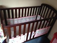 Dark Lily O'BABY dropside cot and mattress