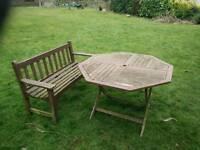 Garden patio table and bench