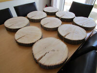 "9x 11-12"" Cut Log Slices With Bark - Ideal Rustic Wedding Centre Pieces"