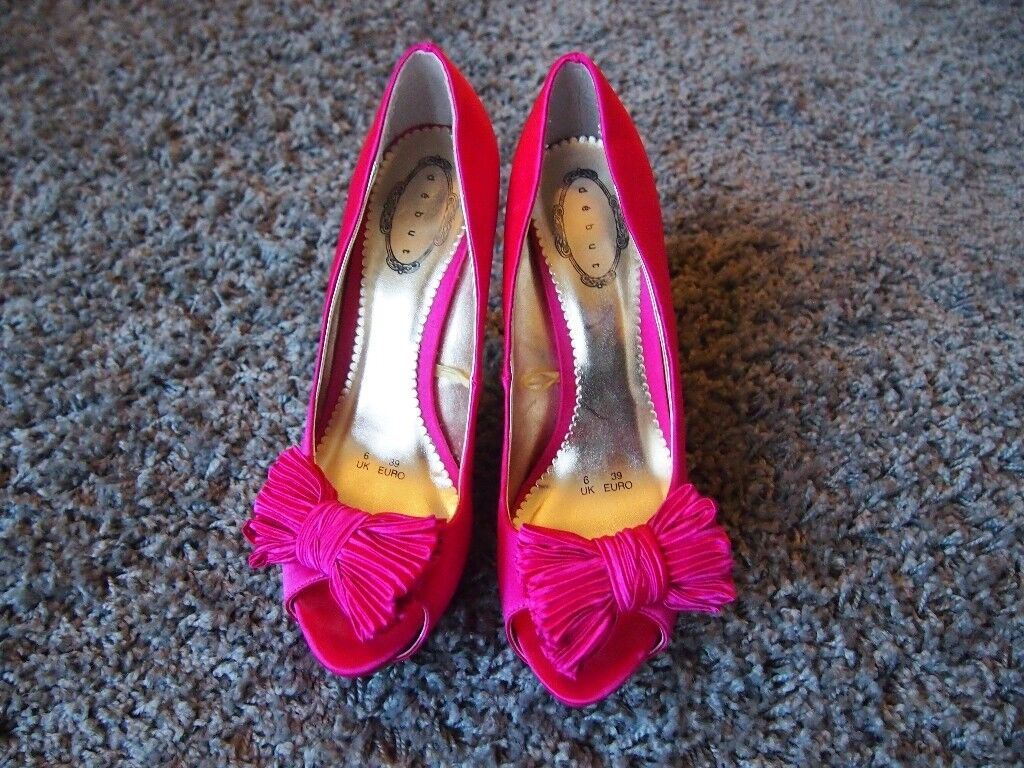 4a7f13bea44 Pink Debut at Debenhams high heels with peep toe and bow details Sz 6/39    in Warrington, Cheshire   Gumtree