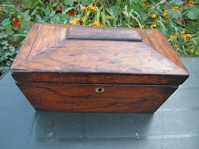 ANTIQUE REGENCY MAHOGANY SARCOPHAGUS TEA CADDY