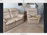 G Plan leather settee and armchair