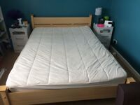 Beech Colour Double Bed Frame