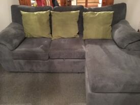 Sofa with chaise and chair